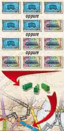 Esempio 1: Per prendere il controllo di una linea Blu lunga tre caselle, un giocatore può giocare una delle seguenti combinazioni: tre carte Blu, due carte Blu e una Locomotiva, una carta Blu e due Locomotive, oppure tre Locomotive.