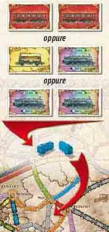 Esempio 2: Per prendere il controllo di una linea Grigia lunga due caselle è possibile giocare due carte Rosse, una carta Gialla e una Locomotiva, oppure due Locomotive.