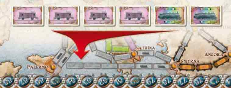 Per prendere il controllo della Linea Traghetto da Smirne a Palermo servono quattro carte Treno di uno stesso colore qualsiasi e due Locomotive.